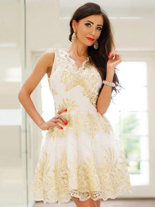 A Line V Neck Strap Mini Lace Homecoming Dresses Prom Dresses - NICEOO