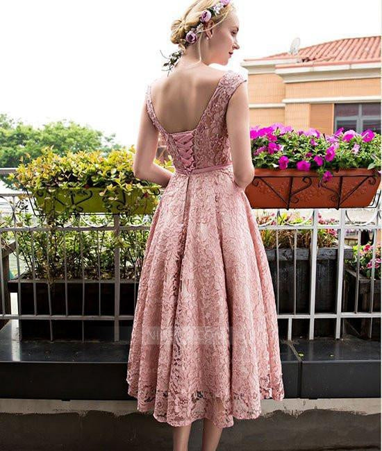 658af2a326e Pink Round Neck Short Sleeves Tea Length Lace Homecoming Dresses Prom  Dresses