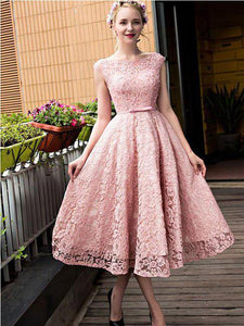 Pink Round Neck Short Sleeves Tea Length Lace Homecoming Dresses Prom Dresses - NICEOO