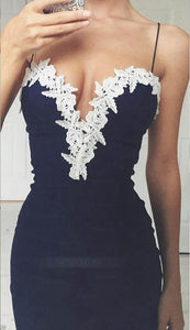 Navy Blue Spaghetti Strap Slim Line Homecoming Dresses Evening Dresses - NICEOO