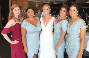 Blue Slim Line V Neck V Back Knee Lengh Plus Size Bridesmaid Dresses - NICEOO