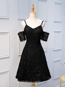 Black Spaghetti Strap V Neck Homecoming Dresses,Off Shoulder Short Sleeves Cocktail Dresses - NICEOO