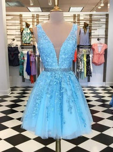 Blue Deep V Neck Tulle Homecoming Dresses Cocktail Dresses With Appliques - NICEOO
