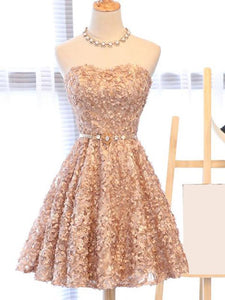 A Line Strapless Knee Length Homecoming Dresses Cocktail Dresses - NICEOO