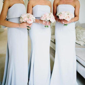 Simple Light Blue Strapless Empire Waist Slim Line Satin Bridesmaid Dresses Evening Dresses