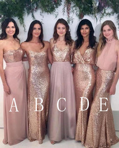 Sexy Rose Gold Five Styles Sleeveless Empire Waist Sequin Bridesmaid Dresses Prom Dresses - NICEOO