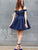 Navy Blue A Line Off Shoulder V Neck Mini Homecoming Dresses Evening Dresses - NICEOO