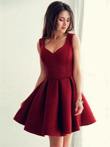Burgundy V Neck Strap Mini Homecoming Dresses,A Line Cocktail Dresses - NICEOO