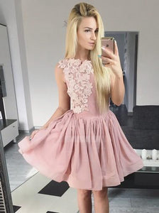 Pink Round Neck Sleeveless Chiffon Homecoming Dresses Mini Cocktail Dresses - NICEOO