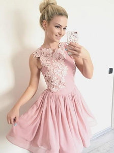 Pink Round Neck Sleeveless Chiffon Homecoming Dresses Mini Cocktail Dresses
