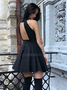 A Line Halter Open Back Mini Homecoming Dresses Satin Evening Dresses - NICEOO