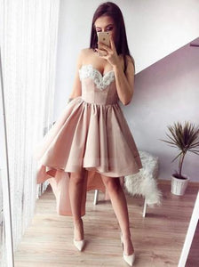 Light Pink Sweetheart High Low Homecoming Dresses Prom Dresses - NICEOO