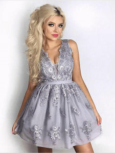 Gray Sleeveless Deep V Neck Mini Homecoming Dresses,A Line Evening Dresses