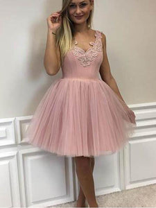 Pink A Line V Neck Sleeveless Tulle Homecoming Dresses Cocktail Dresses - NICEOO