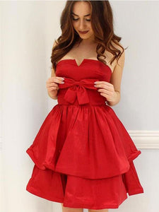 Red Strapless Homecoming Dresses,A LineCocktaile Dresses With Bow - NICEOO