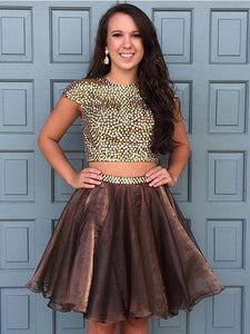 Brown Two Pieces Short Sleeves Knee Length Homecoming Dresses Evening Dresses With Rhinestones - NICEOO