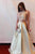 2 Pieces Beaded Long Prom Dresses A-Line Satin Evening Dresses
