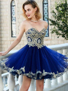 Royal Blue Strapless A Line Mini Homecoming Dresses Cocktail Dresses With Tulle - NICEOO