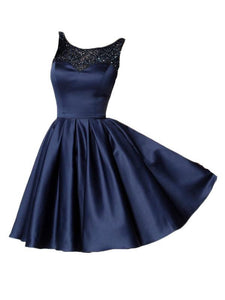Navy Blue Round Neck Sleeveless Open Back Homecoming Dresses Evening Dresses - NICEOO
