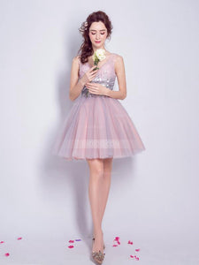 Cute A Line V Neck Sleeveless Mini Homecoming Dresses Evening Dresses With Sequin - NICEOO