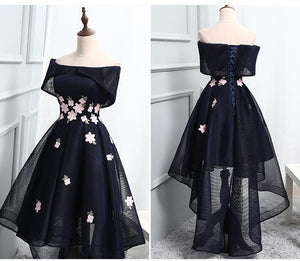 Black A Line Off Shoulder High Low Homecoming Dresses Prom Dresses - NICEOO