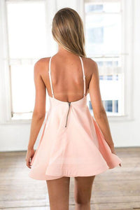 Simple Light Pink Open Back Mini Homecoming Dresses Cocktail Dresses