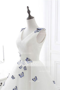 Simple White A Line V Neck Sleeveless Homecoming Dresses Short Cocktail Dresses With Butterflies
