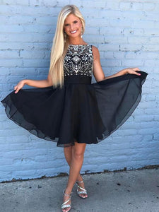 Simple Black Round Neck Sleeveless Knee Length Homecoming Dresses Cocktail Dresses With Rhinestones