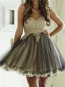 Cute A Line Strapless Mini Homecoming Dresses Evening Dresses - NICEOO