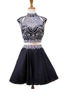 Black Two Pieces Backless Mini Homecoming Dresses Cocktail Dresses With Rhinestones - NICEOO
