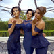 Navy Blue Three Styles Slim Line Satin Bridesmaid Dresses - NICEOO