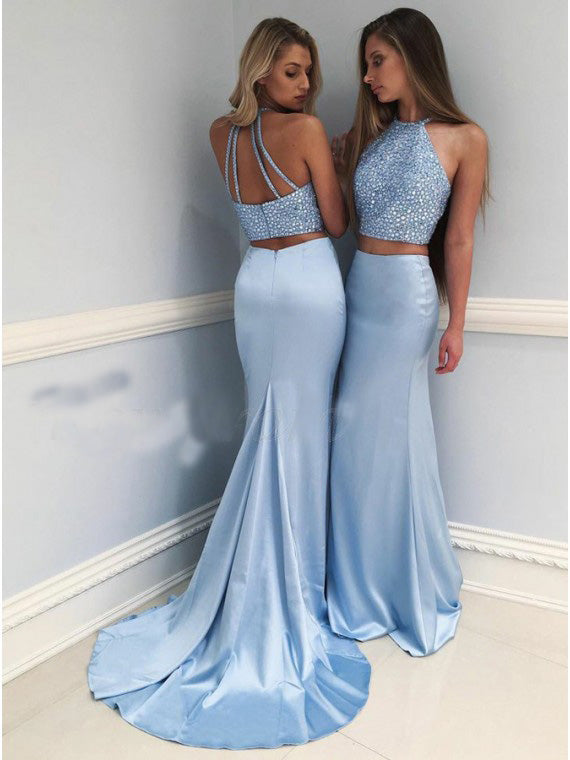 a1c5c6390f1 Light Blue Two Pieces Halter Backless Mermaid Long Satin Prom Dresses -  NICEOO