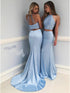 Light Blue Two Pieces Halter Backless Mermaid Long Satin Prom Dresses