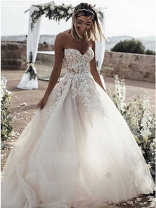 A Line Strapless Floor Length Wedding Dresses Bride Gowns With Appliques - NICEOO