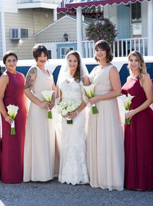 Round Neck Sleeveless Long Chiffon Plus Size Bridesmaid Dresses - NICEOO