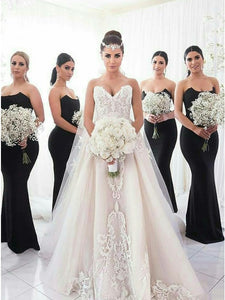Black Strapless Slim Line Long Satin Bridesmaid Dresses