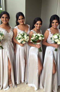 Off Shoulder Side Split Long Satin Bridesmaid Dresses - NICEOO