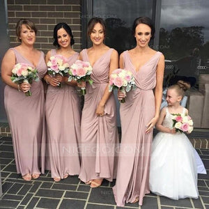 Elegant Blush Pink Strap V Neck Empire Waist Satin Bridesmaid Dresses Evening Dresses - NICEOO