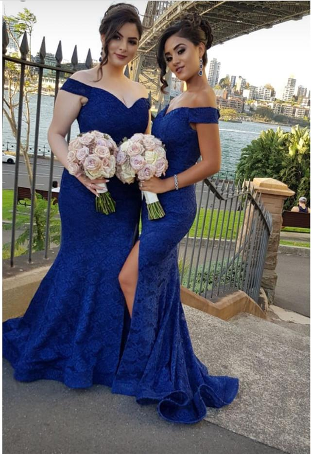 Royal Blue Off Shoulder V Neck Side Split Long Lace Bridesmaid Dresses
