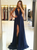 Sexy High Slit Prom Dresses Backless Evening Dresses