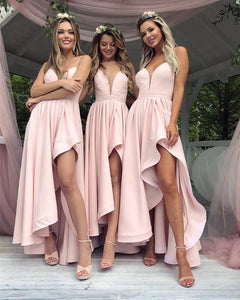 Light Pink Spaghetti Strap Deep V Neck High Low Bridesmaid Dresses