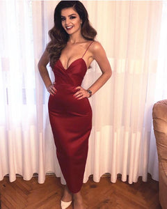 Sexy Spaghetti Strap Sweetheart Open Back Slim Line Tea Length Prom Dresses Evening Dresses
