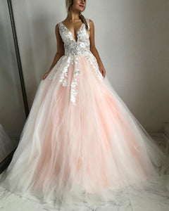 A Line Deep V Neck Strap Sleeveless Long Tulle Prom Dresses Ball Gowns - NICEOO