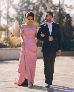Pink Off Shoulder Square Neck Long Satin Prom Dresses Military Ball Dresses - NICEOO