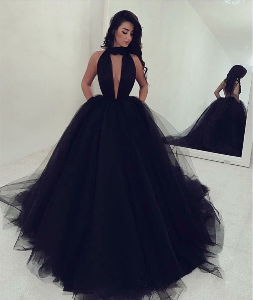 Black Halter Deep V Neck Open Back Tulle Prom Dresses Ball Gowns