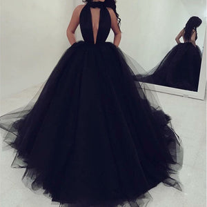 Black Halter Deep V Neck Open Back Tulle Prom Dresses Ball Gowns - NICEOO