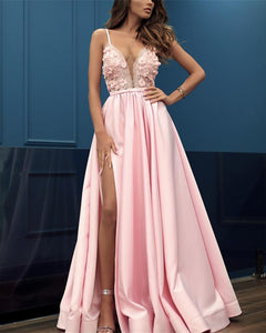 Pink Spaghetti Strap Deep V Neck Side Split Long Satin Prom Dresses Military Ball Dresses - NICEOO