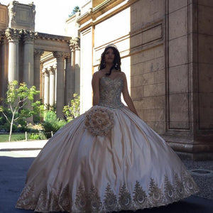 A Line Sweetheart Long Satin Ball Gowns Wedding Dresses With Rhinestones - NICEOO