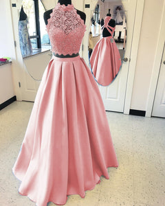 Two Pieces Halter Open Back Homecoming Dresses Long Prom Dresses