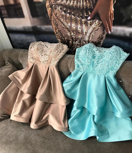 A Line Strapless Mini Homecoming Dresses Satin Cocktail Dresses - NICEOO